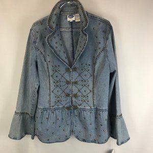 COPY - DG2 by Diane Gilman denim studded jacket